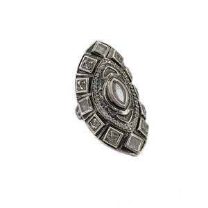 VINTAGE SILVER SEONI LABRADORITE COCKTAIL RING
