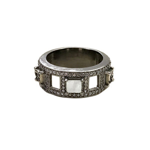 GUNMETAL BAIRI MOONSTONE & COIN BAND RING