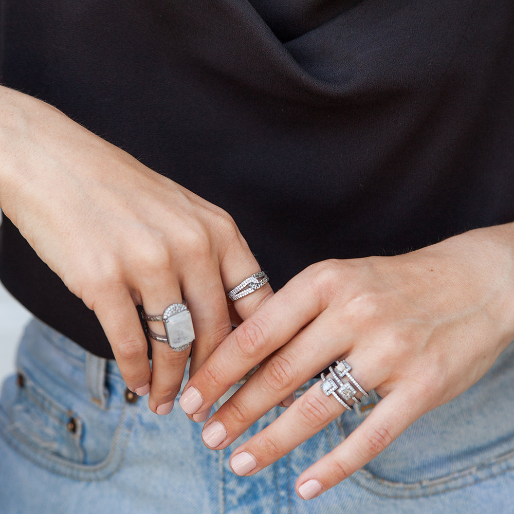 GUNMETAL DANUBE MOONSTONE & COIN 3 ROW RING