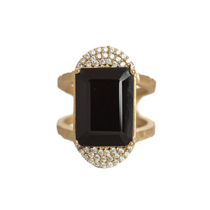 GOLD KOSOR EMERALD CUT ONYX & CRYSTAL COCKTAIL RING