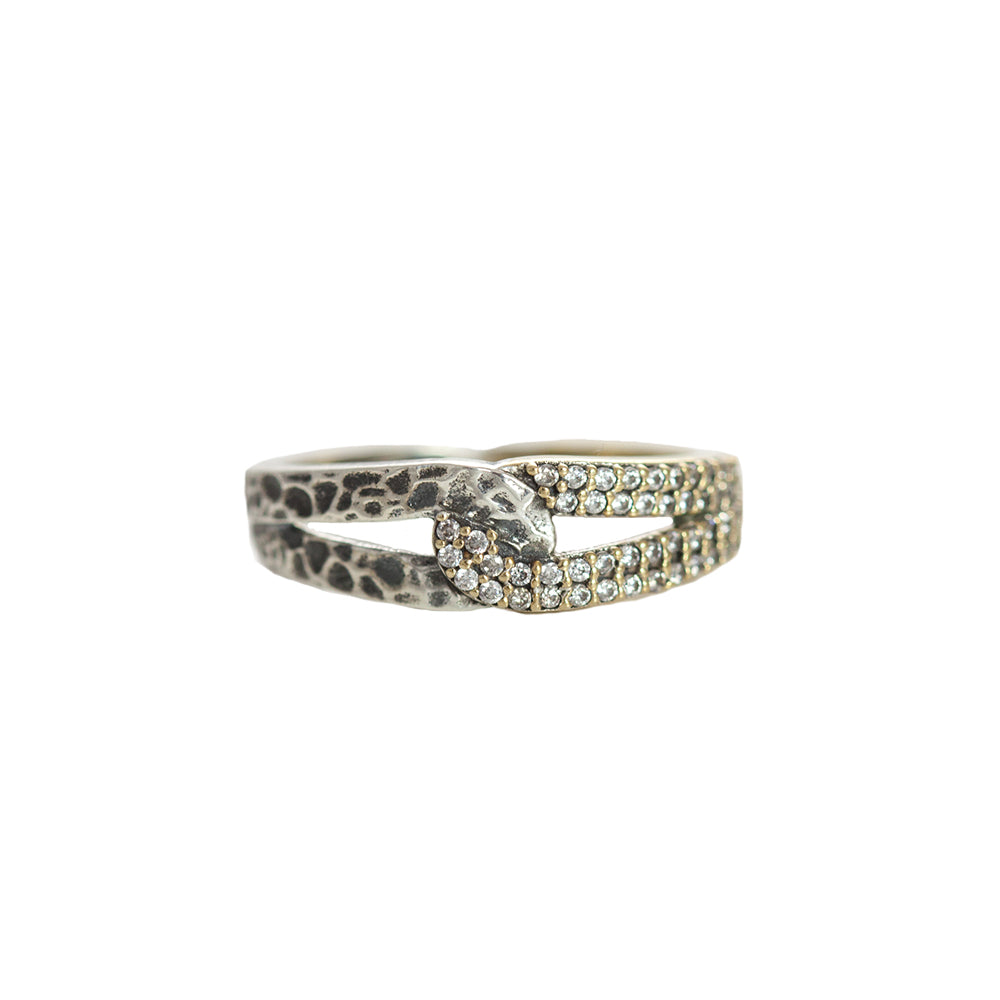 GOLD ROCKOVE CRYSTAL & HAMMERED LOOP RING