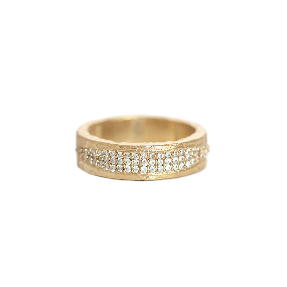 GOLD VELEN CRYSTAL INLAY BAND RING
