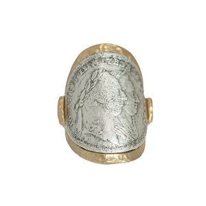 GOLD MARIA THERESA CURVED COIN RING