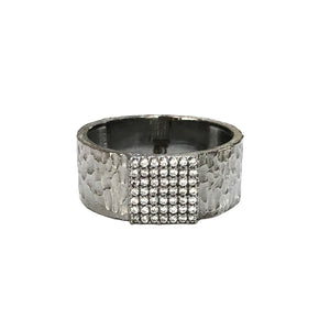 GUNMETAL ARTÍS PAVÉ SQUARE BAND RING