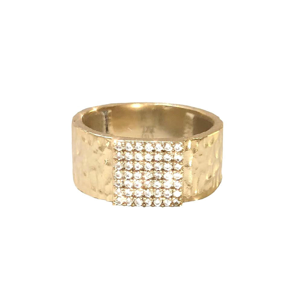 GOLD ARTÍS PAVÉ SQUARE BAND RING