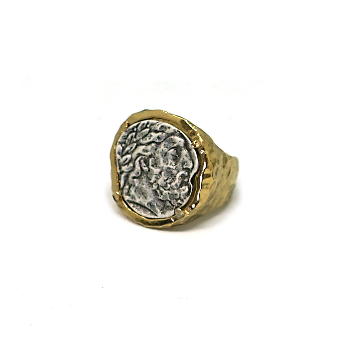 GOLD ZEUS FRAMED COIN RING