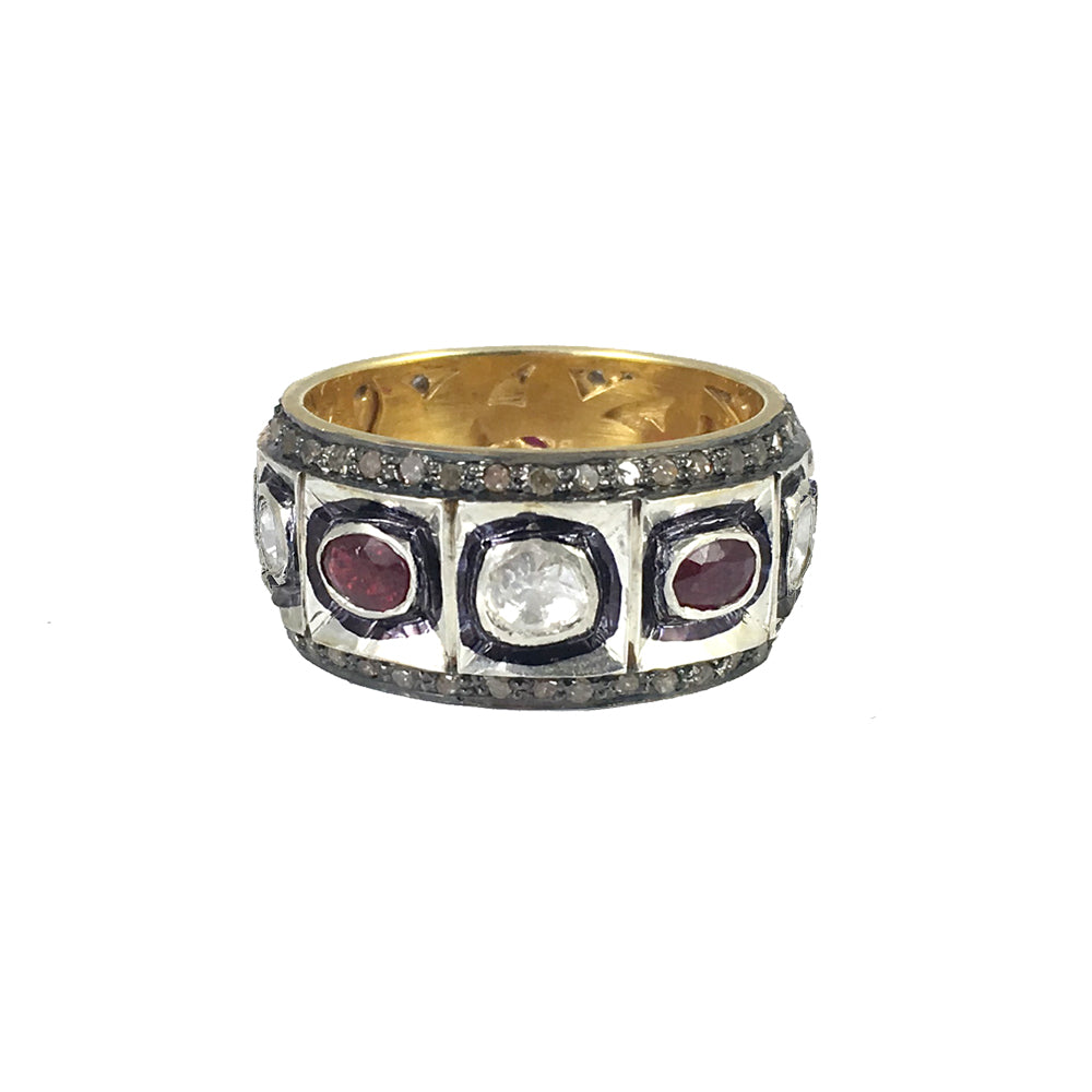 j three ruby r stone jewellery style platinum top ring