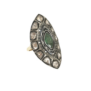 VERMEIL DATIA EMERALD & DIAMOND MARQUISE RING