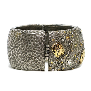 SIENA VINTAGE SILVER WIDE MARCASITE BANGLE