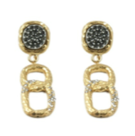 GOLD PAVIA PAVE & LINK EARRINGS