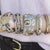 VINTAGE SILVER DREI COIN & CRYSTAL 3 ROW  BANGLE