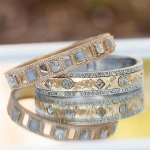 GOLD BAIRI LABRADORITE & COIN BANGLE