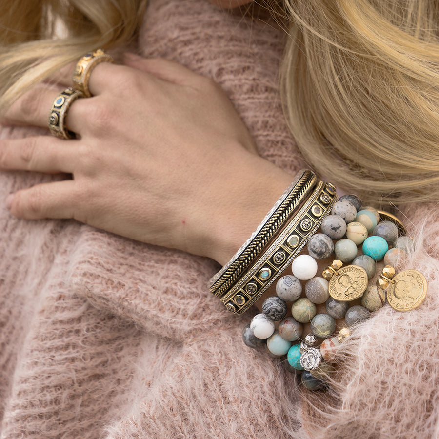 GOLD REPUBBLICA BLUE OPAL & LABRADORITE STRETCH BRACELET