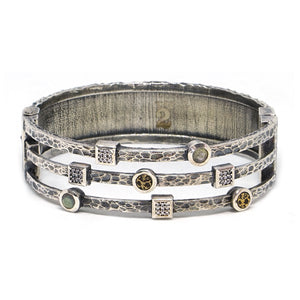 VINTAGE SILVER DANUBE LABRADORITE & CRYSTAL 3 ROW BANGLE