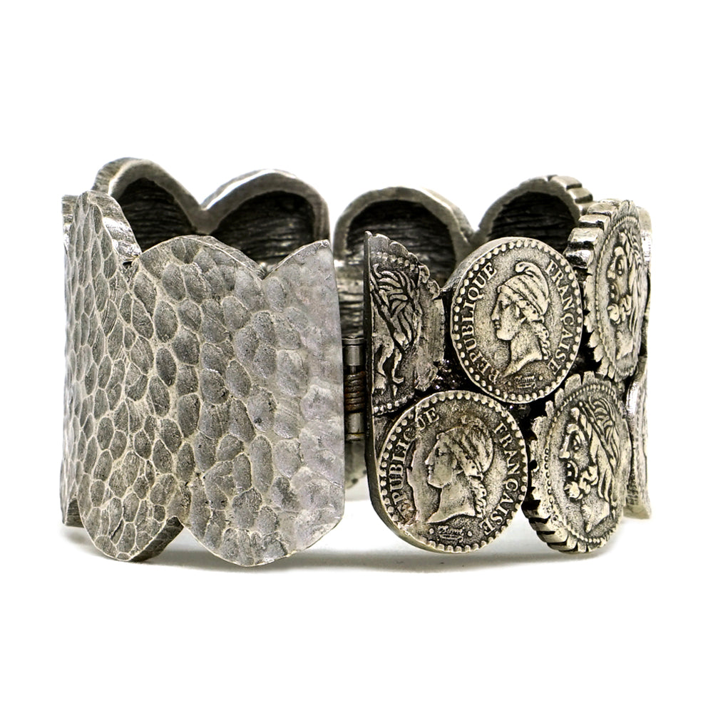 VINTAGE SILVER DOUBLE COIN BANGLE