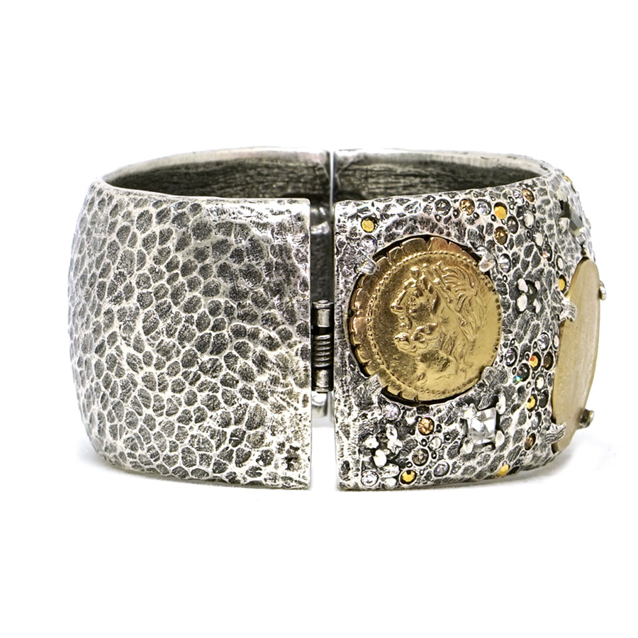 VINTAGE SILVER COIN THICK BANGLE