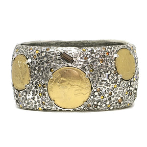 VINTAGE SILVER & GOLD COIN THICK BANGLE