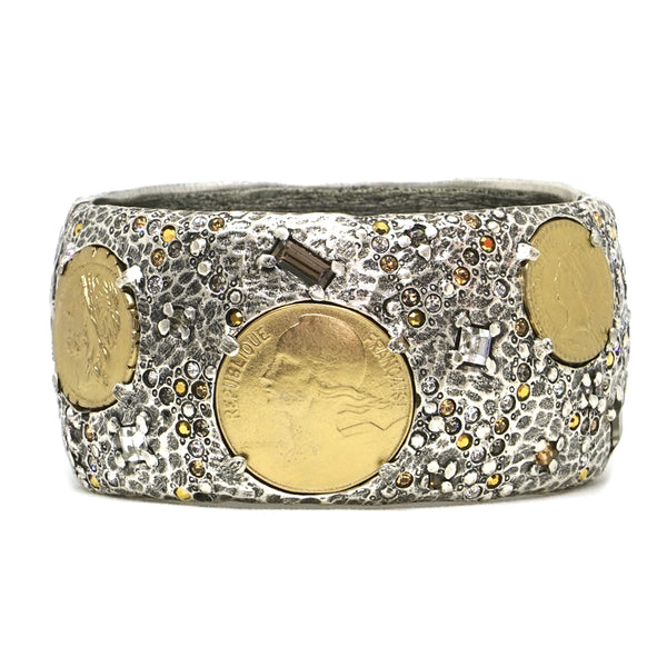 6142252199e VINTAGE SILVER & GOLD COIN THICK BANGLE - Tat2 Designs