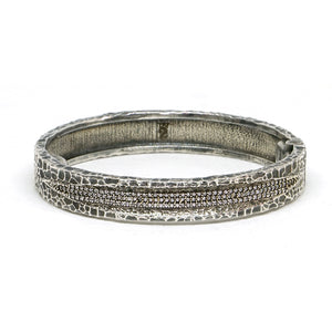 VINTAGE SILVER VELEN CRYSTAL INLAY BANGLE