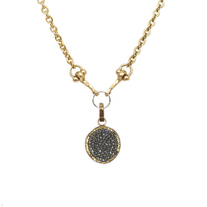 LARGE GOLD PAVE DISK CHARM