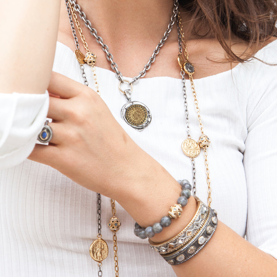GOLD DELHI COIN & BEAD LONG STATION NECKLACE