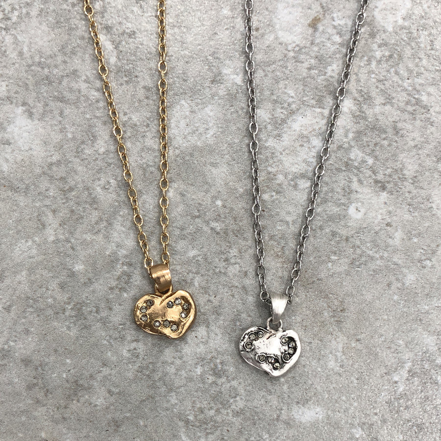 SMALL GOLD IMPRESSION HEART NECKLACE