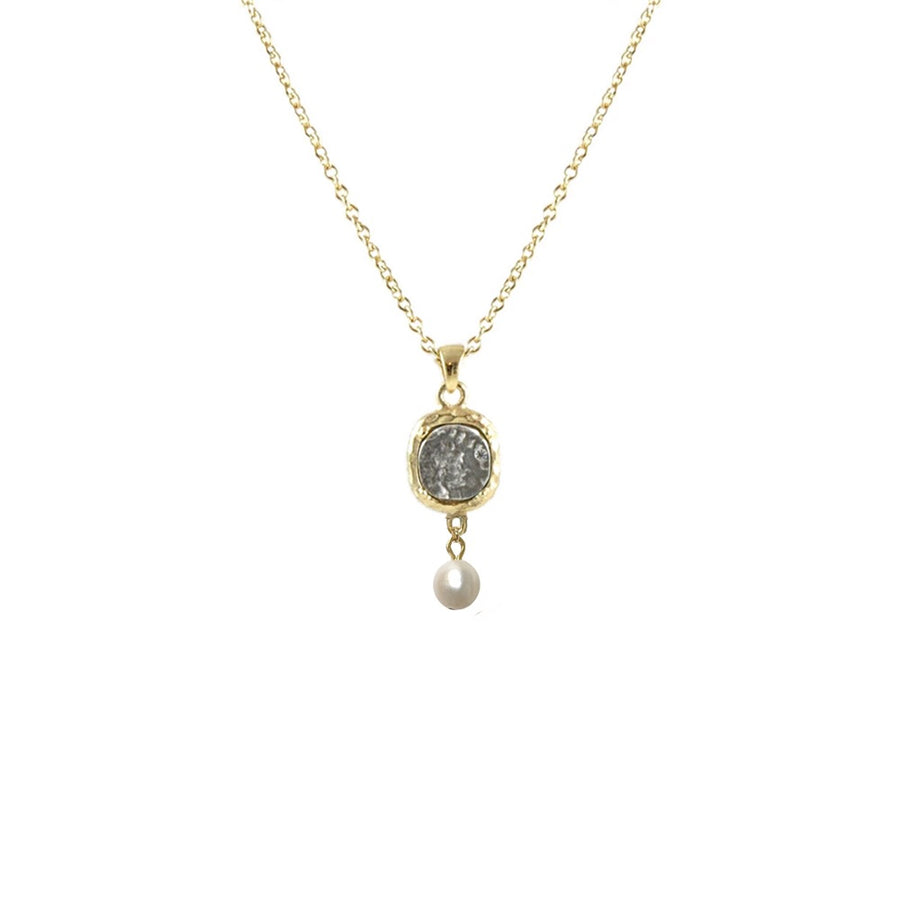 GOLD PAVIA COIN & FRAME PEARL NECKLACE