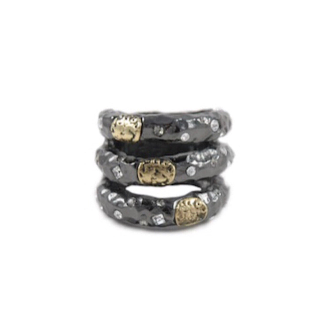 GUNMETAL TUSCANY 3 ROW VINTAGE COIN RING