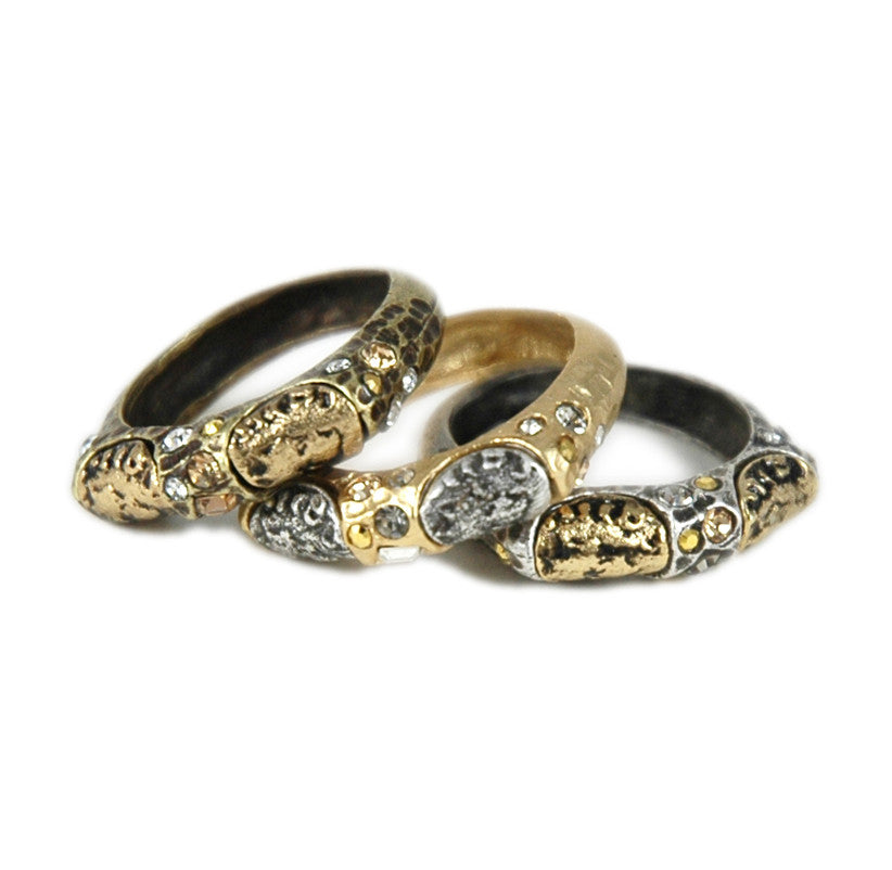 MULTI COLORED PAVIA SET OF 3 STACKABLE RINGS