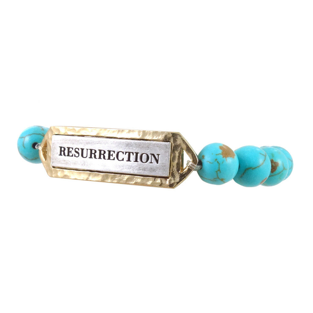 GOLD & TURQUOISE RESURRECTION STRETCH BRACELET