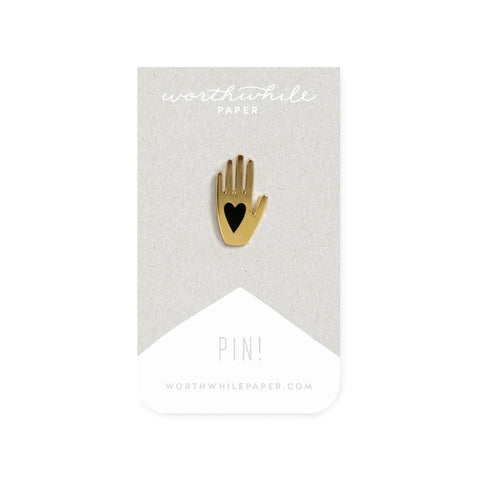 Worthwhile Paper - Hand + Heart Enamel Pin