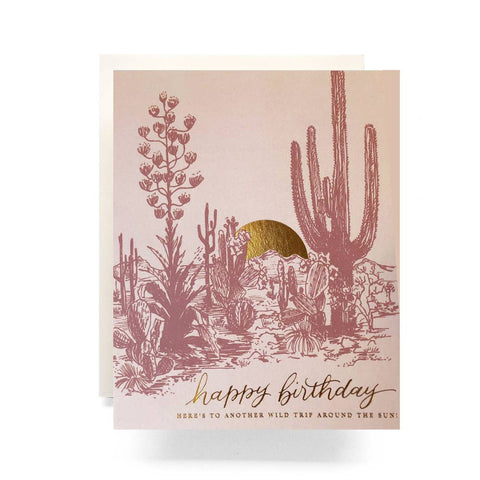 Antiquaria - Cactus Sunset Birthday Greeting Card
