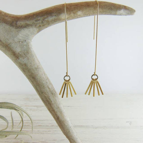 Threader Gold Fringe Earrings