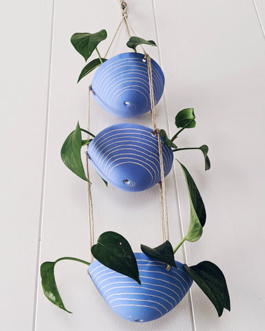 Half Light Honey - Horizon Line 3-Tiered Hanging Planter in Blue & White