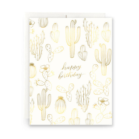 Happy Birthday- Gilded Cactus (gold foil)