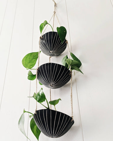 Half Light Honey - Vertical Line 3-Tiered Hanging Planter in Black & White
