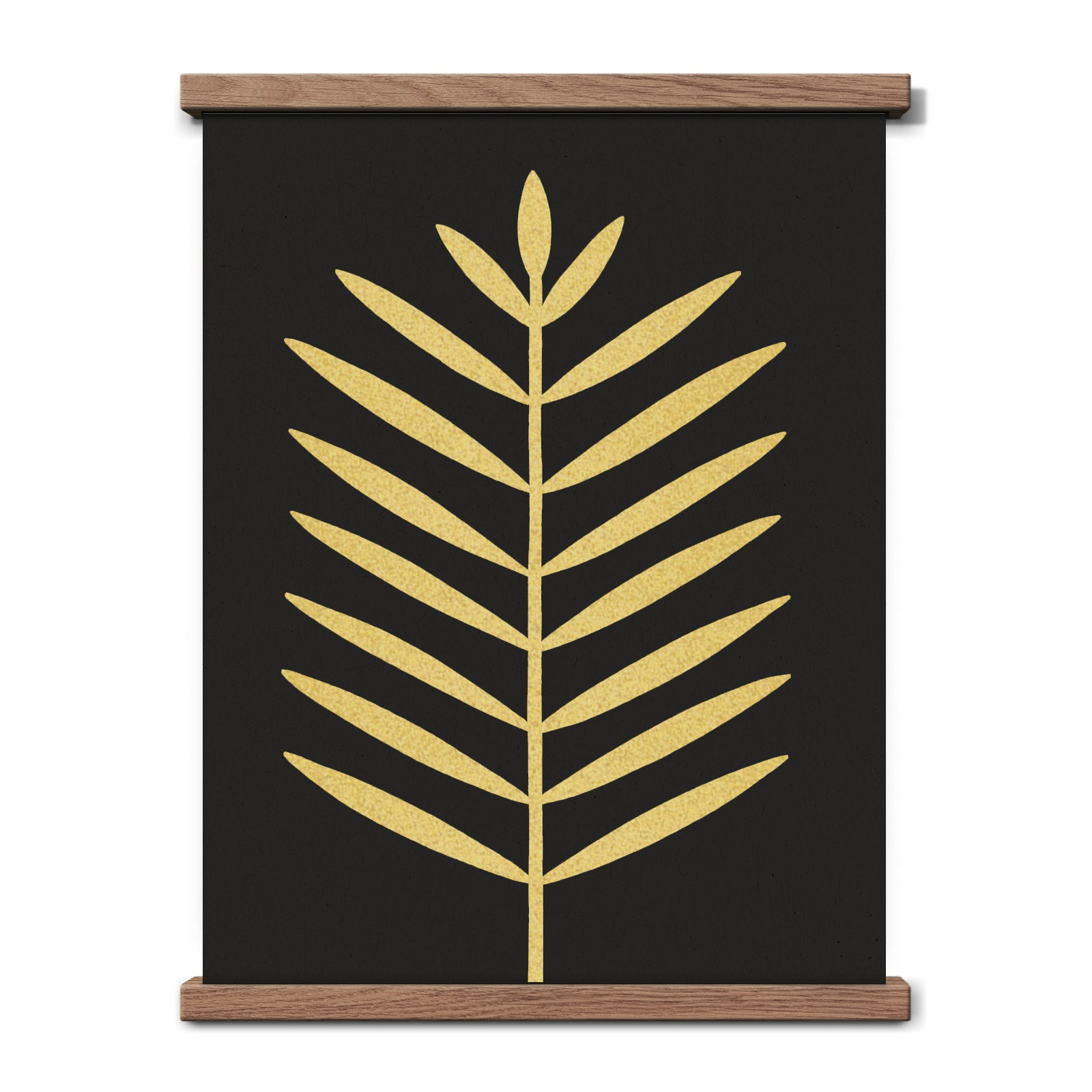Modern Black Palm Leaf 11 x 14 Print - Gold on Black
