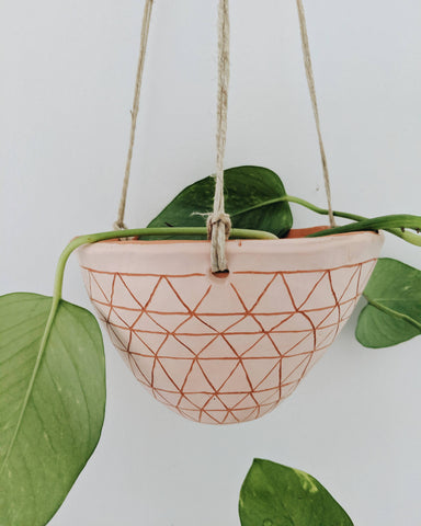 Half Light Honey - Geometric Frieze Hanging Planter in Pink & Terracotta