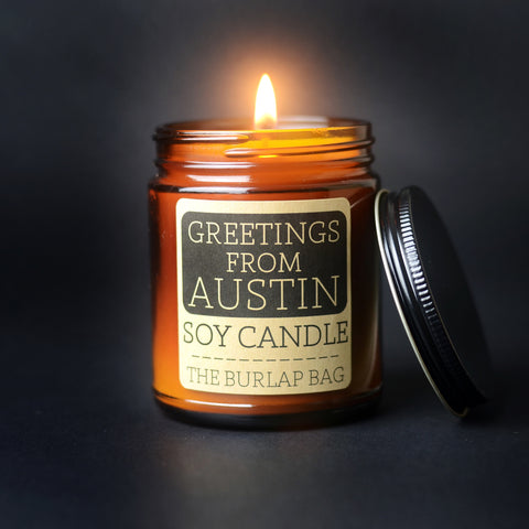 The Burlap Bag - Greetings from Austin Soy Candle 9oz