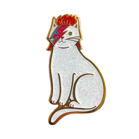 Danielle V Designs - Bowie Cat Enamel Pin All Glitter & Gold Hard Enamel