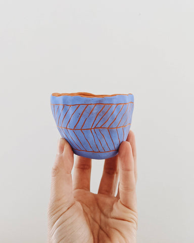 Half Light Honey - Herringbone Mini Planter in Blue & Red Terracott (Copy)