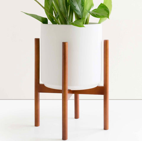 Ceramic Planter with Wood Plant Stand