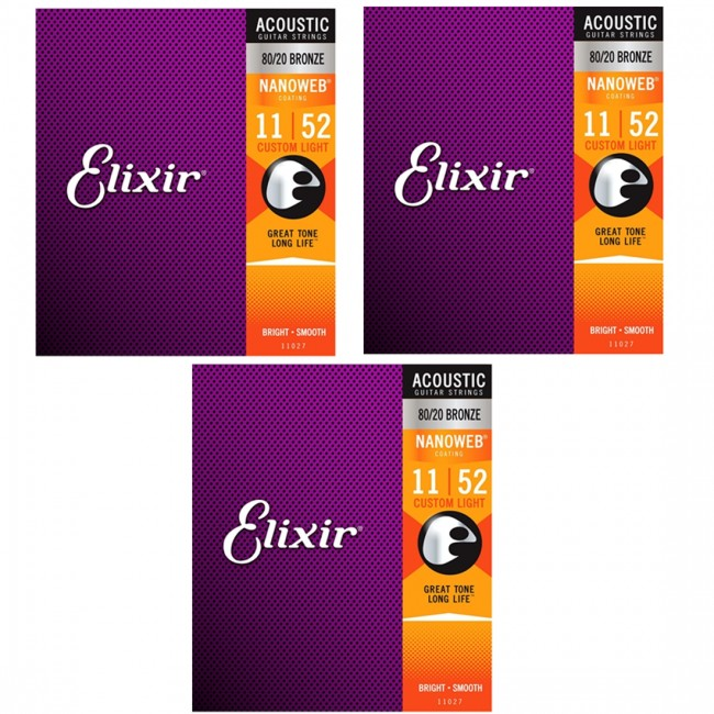 3 Pack of Elixir 11027 Acoustic Guitar Strings