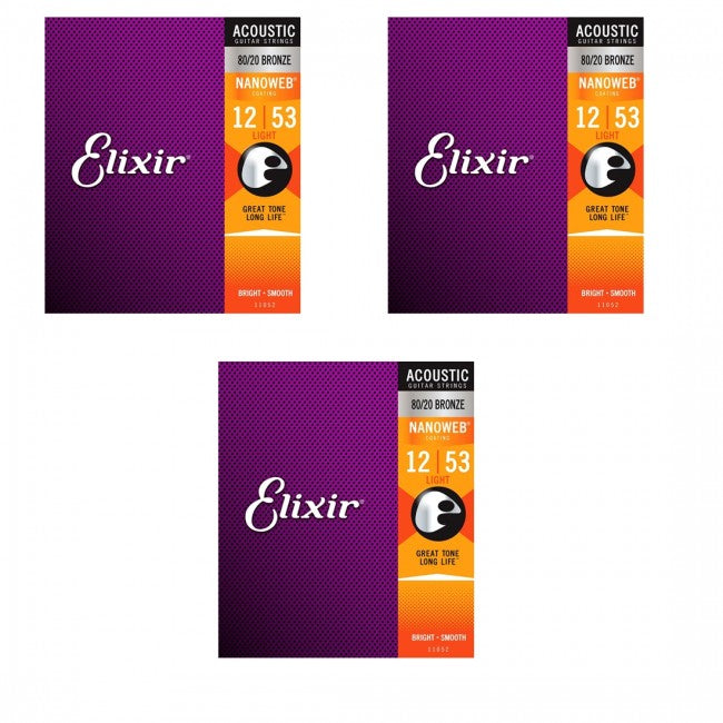 3 x Elixir 11052 Acoustic Guitar Strings Nanoweb Light