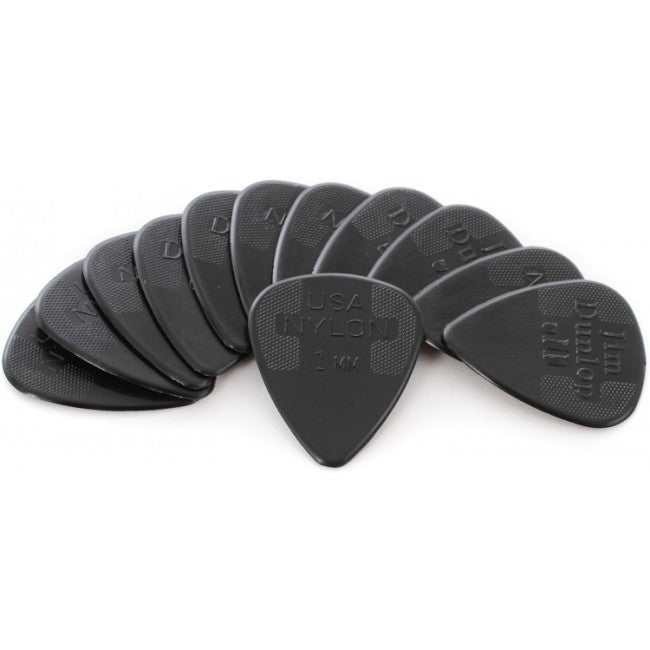 Jim Dunlop Guitar Picks Players 1.0mm Nylon Standard Qty 12 Pick Pack – Black JP210 44P1.0