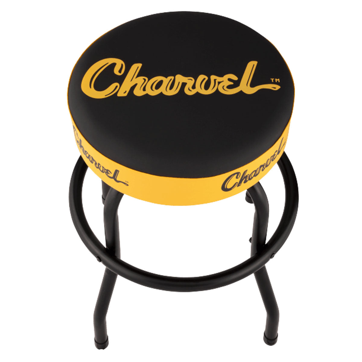 Charvel Toothpaste Logo Guitar Stool 24inch Barstool, Black & Yellow - 9922827024