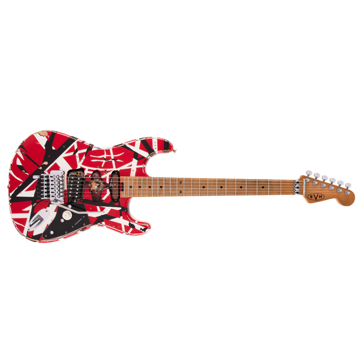 EVH Striped Series Frankie Electric Guitar Red w/ Black Stripes Relic - 5107900503
