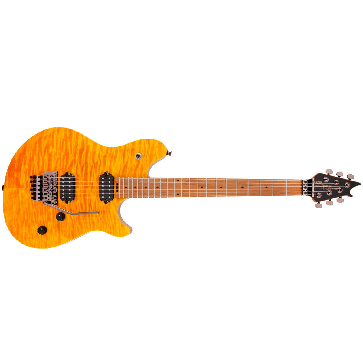 EVH Wolfgang WG Standard QM Electric Guitar Baked Maple FB Transparent Amber - 5107004558