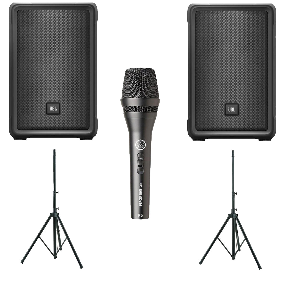 JBL IRX Party Pack Expander w/ 2x IRX108 BT Bluetooth Speaker + AKG P-5S Mic & Speaker Stands