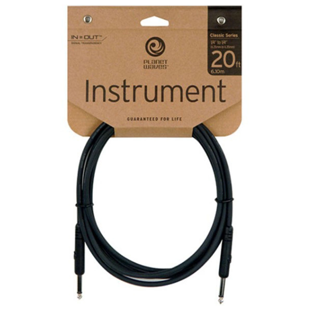 D'Addario Planet Waves Classic Series Guitar Cable 20ft 6.1m Instrument Lead - PW-CGT-20